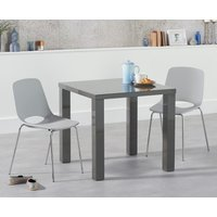 Atlanta 80cm Dark Grey High Gloss Dining Table with Nordic Chrome Leg Chairs