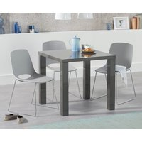 Atlanta 80cm Dark Grey High Gloss Dining Table with Nordic Sled Chrome Leg Chairs