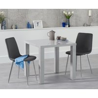 Atlanta 80cm Light Grey High Gloss Dining Table with Hamburg Faux Leather and Chrome Leg Chairs