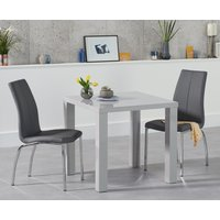 Atlanta 80cm Light Grey High Gloss Dining Table with Cavello Chairs