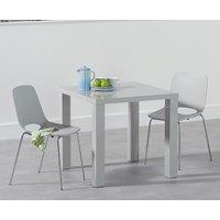 Atlanta 80cm Light Grey High Gloss Dining Table with Nordic Chrome Leg Chairs