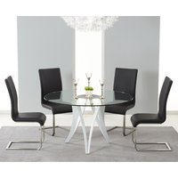 Berlin 130cm Glass and White High Gloss Round Dining Table with Malaga Chairs