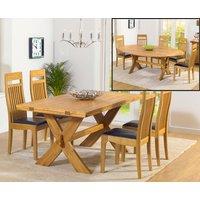 Bordeaux 165cm Oak All Sides Extending Table with Monaco Chairs