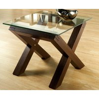 Lyon Walnut and Glass Lamp Table