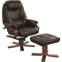 Macau Swivel Chair and Footstool in Chocolate