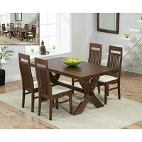 Bordeaux 165cm Dark Oak All Sides Extending Table with Monaco Chairs