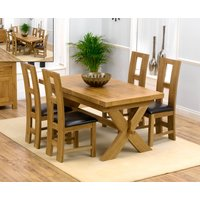 Bordeaux 200cm Solid Oak Extending Dining Table with Louis Chairs