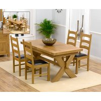 Bordeaux 200cm Solid Oak Extending Dining Table with Vermont Chairs