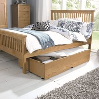 Atlanta Oak High Footend King Size Bed with Options Storage