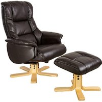 Shanghai Chocolate Leather Recliner Chair and Footstool