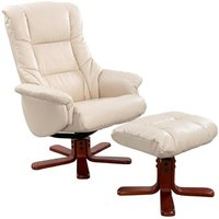 Shanghai Cream Leather Recliner Chair and Footstool