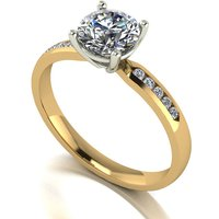 Moissanite 9ct Gold 1 10ct eq Solitaire Ring with Shoulder Detail 271334