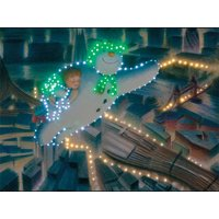 The Snowman, Billy and the Snowdog Over Night Cityscape Illuminated Canvas with Timer - 40 x 30cm 357282