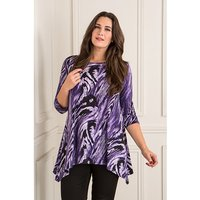 Reflections 3/4 Sleeve Printed Dip Hem Top 364978