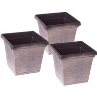 Set of 3 x 19cm Square Metallic Look Planters 368752