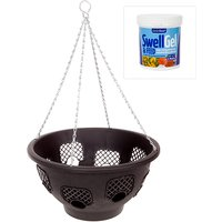 Pack of 4 15inch Easy Fill Hanging Baskets with 8 Gates Baskets with a 500g tub of Garden Boost Swell Gel and Feed 369075