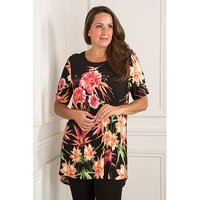 Anamor Short Sleeve Printed Longline Top 377319