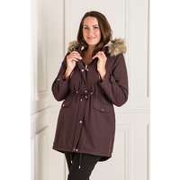 Longline Parka Jacket with Faux Fur Trim Hood 380613