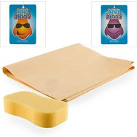 Car Cleaning Kit   Sponge  Synthetic Chamois and 2 x Air Fresheners 384567