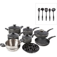Tower 9 Piece Infinistone Pan Set with 10 Year Guarantee and Tower 5 Piece Nylon Utensils 386640