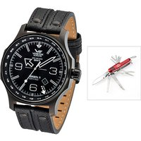 Vostok Europe Gents Dual Time Expedition N1 with PVD Stainless Steel Case, Leather Strap and FREE Multi-Tool Penknife 389728