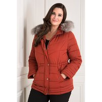 Hooded Luxury Padded Parka Jacket with Detachable Faux Fur Trim 403182