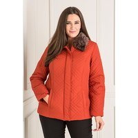 Quilted Jacket with Detachable Fur Trim Collar 403190