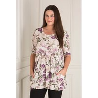 Nicole Floral Print Pleat Front Top 404531