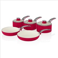 Swan Retro 5 Piece Pan Set Red - Red 408549