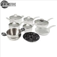Tower 9Pce Stone Coated Cookware Set - Grey 408692