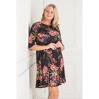 Styled By Exotic Print Fit and Flare Dress with Frill Sleeve 427474