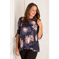 Styled By Navy Blush Floral Print 3/4 Frill Sleeve Tunic Top 428096