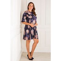 Styled By Navy Blush Floral Fit And Flare Dress 428100