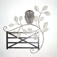 Owl and Fence Metal Wall Art 64cm x 63cm 437198