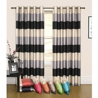 Rio Stripe (66 inches x) Faux Silk Lined Ring Top Curtains 438548
