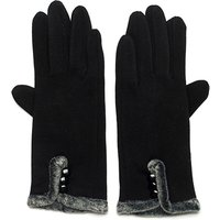 Faux Fur Lined Gloves with Button Detail 439019