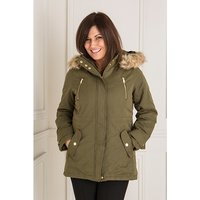Hooded Dip Back Lined Parka Jacket with Detachable Faux Fur Trim 439044