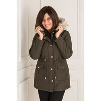 Hooded Quilted Parka Jacket with Detachable Faux Fur Trim 439045