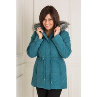 Luxury Hooded Teal Parka Jacket with Detachable Faux Fur Trim 439046