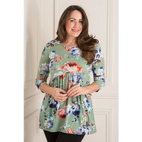 Nicole Print Gathered Drape Pocket Top 441850