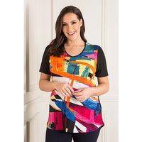 Anamor V-Neck Print Front Tunic with Short Sleeve 443376