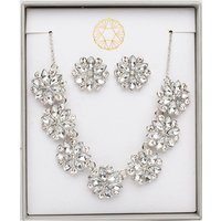 Floral Crystal Effect Necklace and Earring Set 445167