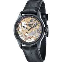 Thomas Earnshaw Gents Bauer Mechanical Skeleton Watch with IP Plated Case and Genuine Leather Strap