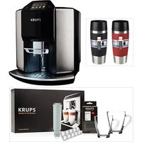 KRUPS Barista Automatic Espresso Bean to Cup Coffee Machine with Starter Kit and 2 Tefal Travel Mugs