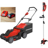 Powerworks 40V Cordless Lawnmower 41cm with 1 x 2Ah Battery and Charger plus FREE Powerworks Line Trimmer