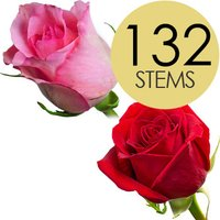 132 Wholesale Red and Pink Roses