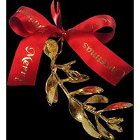 A 24kt Gold dipped Sprig of Christmas Mistletoe
