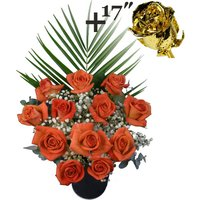 A single 17Inch Gold Dipped Rose surrounded by 11 Orange Roses