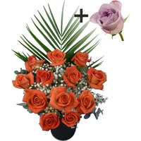 A single Lilac Rose surrounded by 11 Orange Roses