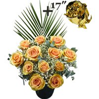 A single 17Inch Gold Dipped Rose surrounded by 11 Peach Roses